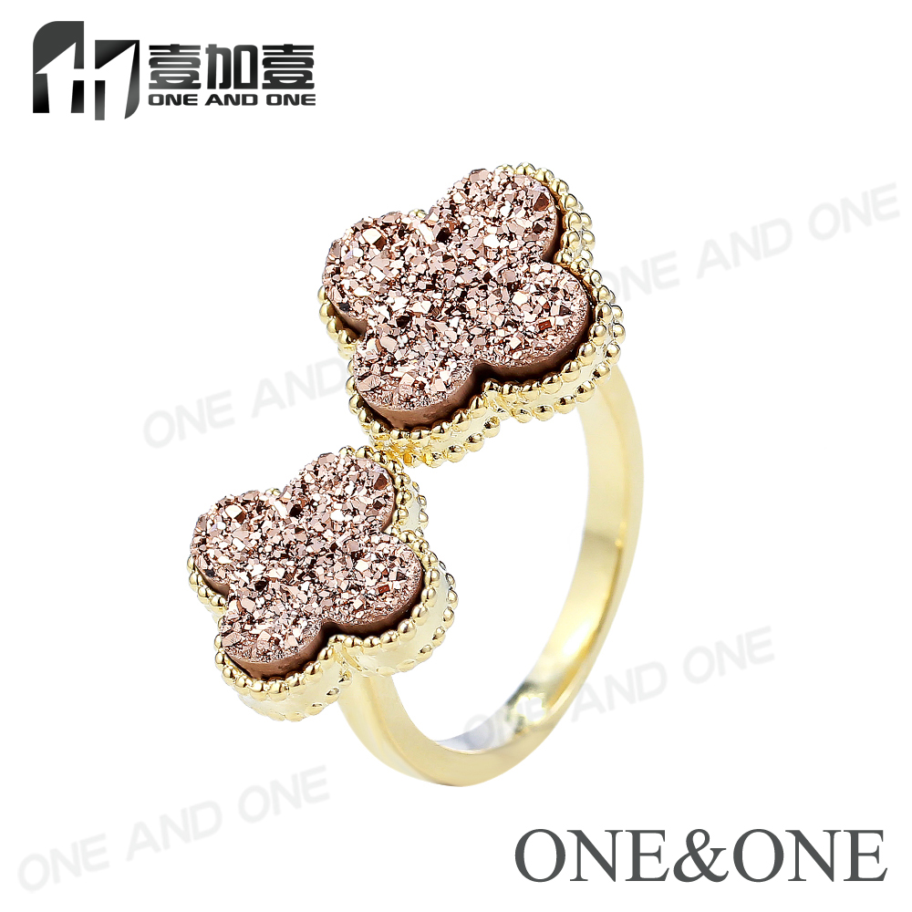 Latest Engagement Druzy Finger Ring Jewelry For Wedding Pary