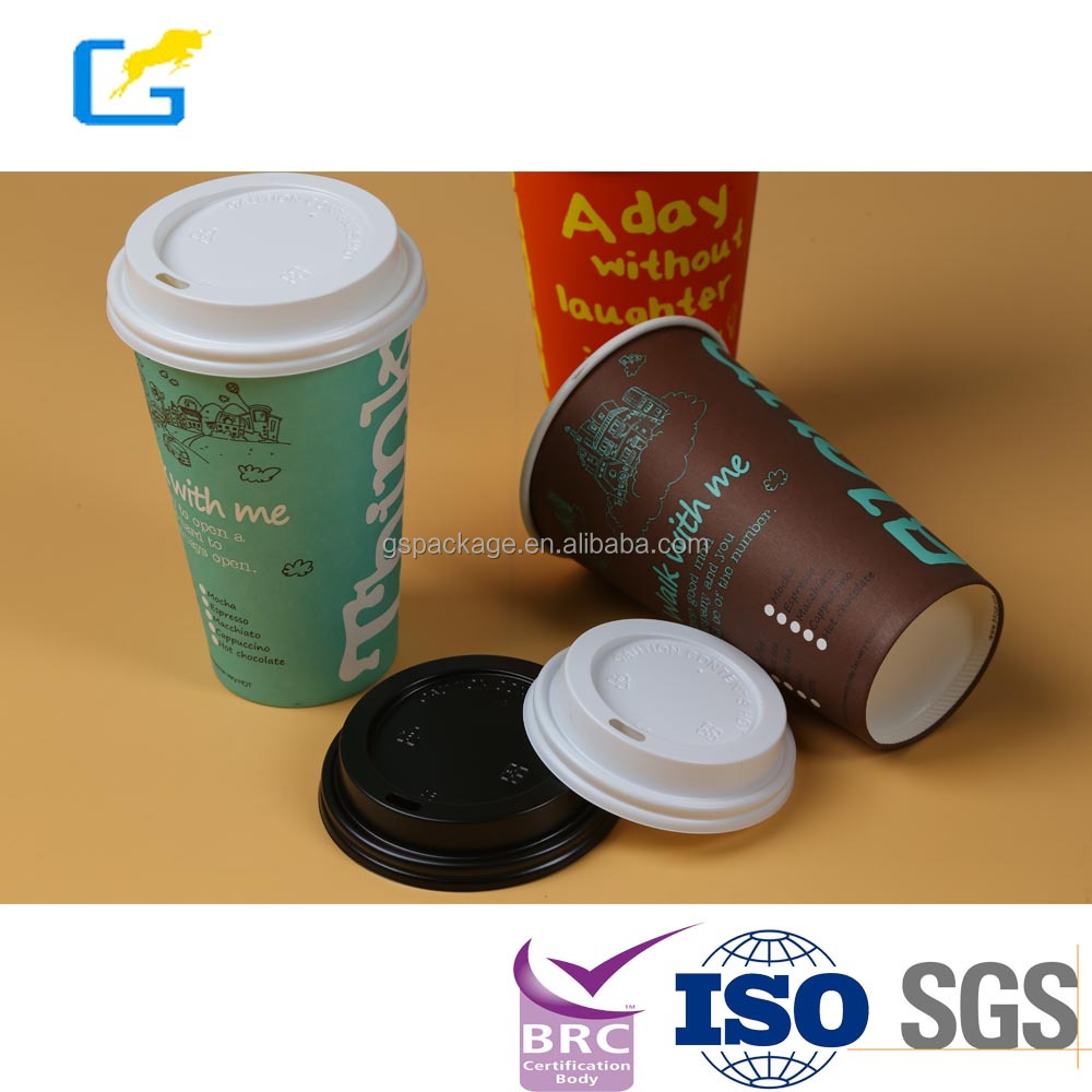 Food use disposable plastic paper cup and coffee lids