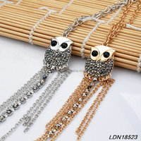 Fashion Diamond Paved Owl Pendant Necklace Chain Tassel Customed Necklace