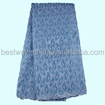 Bestway Popular African Lace Fabric Premium Swiss Voile Lace 100% Cotton SL0305-4 sky blue for Weddings