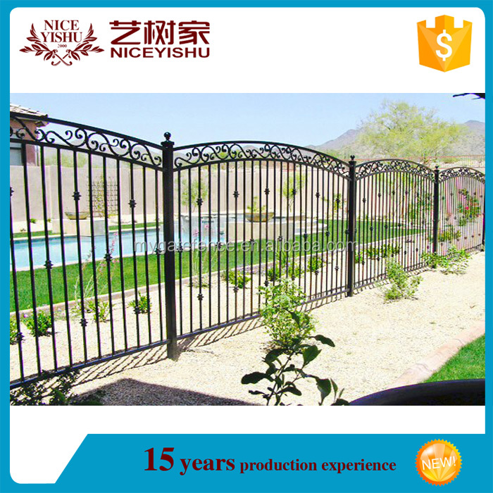 Yishujia factory boundary wall grill design, prefab cheap forged iron fence panels
