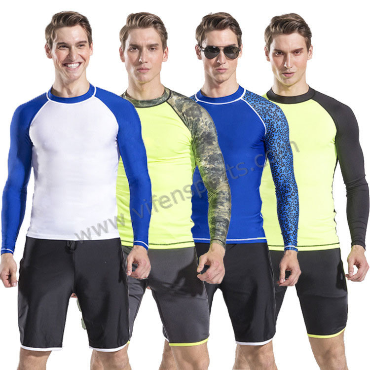 mens nylon lycra rashgurad dive suit swimwear long sleeve blue yellow white with swim pants (13).jpg