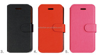 hot item PU Leather Case for iPhone 5 5S Phone Bag 2014 New Arrival Black orange pink