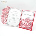 luxurious Third-folded laser cut wedding invitations card envelopes