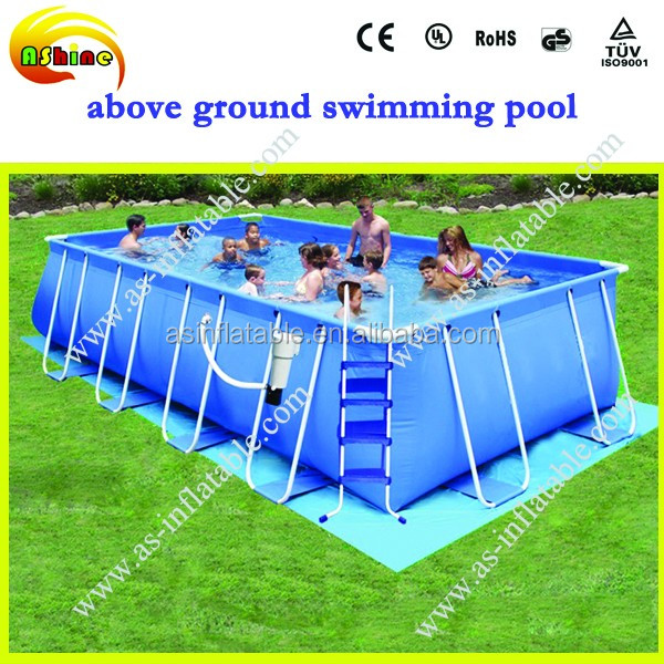 Pop commercial grade ce 20 5 rectangular above ground for Purchase above ground swimming pool