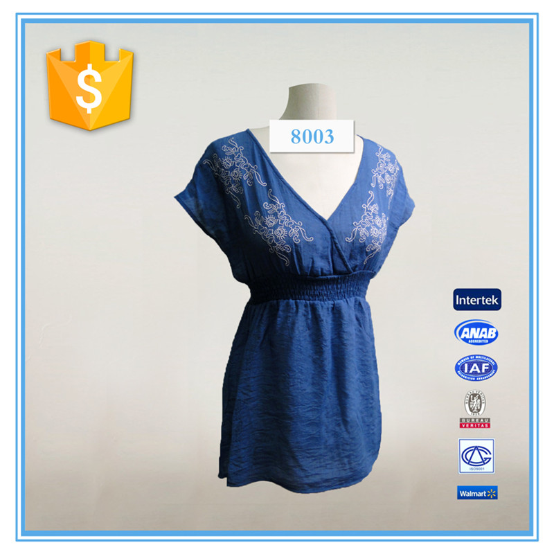 Latest Fashion Long Top Deep V Neck Designs For Ladies Dress Tops