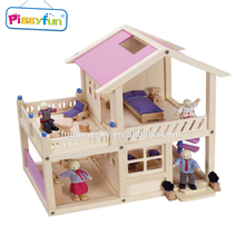 Exquisite pink small children doll wooden house AT10806