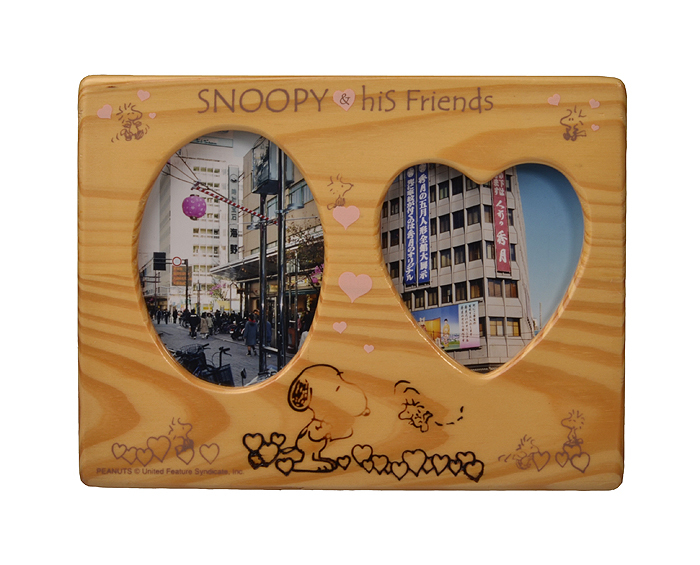 Snoopy his friend classic cartoon image wooden picture frame,kids double photo frame