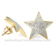 Yellow Gold Diamond Star Shaped Hip Hop Stud Earrings Newest Body Piercing Jewelry-SMFE218