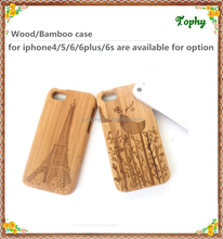 Luxury real wood phone case engrave pattern for iphone 4 5 6 wood case