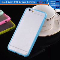 tpu+pc bumper case for iPhone 6 back case, for iPhone 6 tpu frame and transparent pc panel