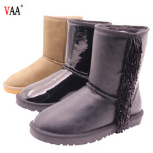 AN-CF-36 Free samples Waterproof Genuine Leather Sheepskin Lined Winter Snow Women Shoes Factory China