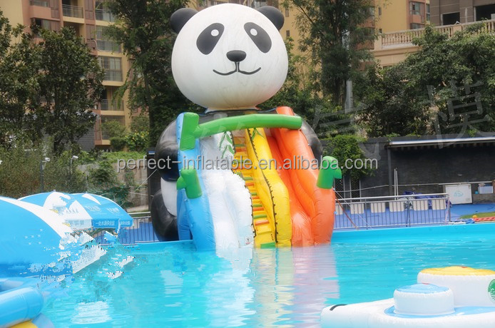 Pretty and lovely Panda inflatable water slide with a colourful slide rail