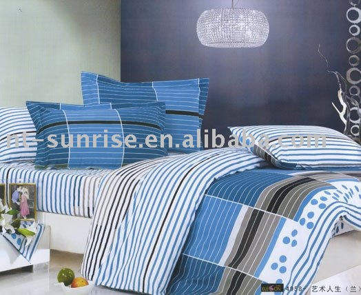 Fancy stripe 100%cotton pigment printing bed sheet set