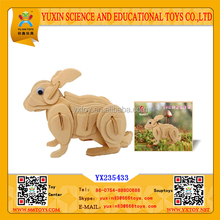 Wooden Puzzle Animal Rabbit, 3d wooden puzzle Toy Animal Rabbit