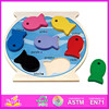 Hot new product for 2015 Wooden toy fish diy intelligence puzzle toys,magnetic wooden fish shape wooden puzzle toy W14C070