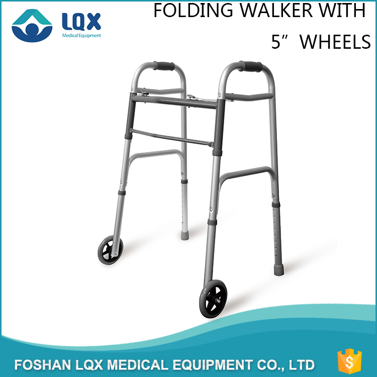 Health Care Adult Exercises Medical Equipment Folding Lightweight Aluminum Wheeled Disabled Adult Walker
