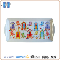 Customized Order Rectangular Plastic Melamine Tray With Handles