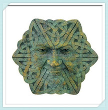 4 Inch Hand Painted Resin Greenman Face Wall Plaque