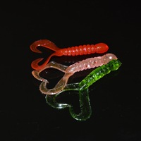 Double Tail Worm Artificial Bait Saltwater Soft Bass Fish Lure