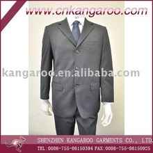 2013 fashion 3 buttons wool pinstripe mens business suits for formal occasion; classic wool poly grey color business suit