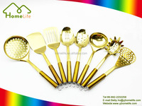 High quality gold color cooking tools set staintless steel kitchen utensils
