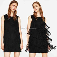 Faux Suede Dress With Fringe Cocktail Dress with Feathers Cheap Wholesale Sexy Faux Leather Dresses