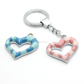 Colorful Enamel Hollow Out Heart Shape Metal keyring