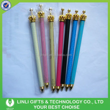 Colorful Plastic Plastic Ballpoint Pen with Crown