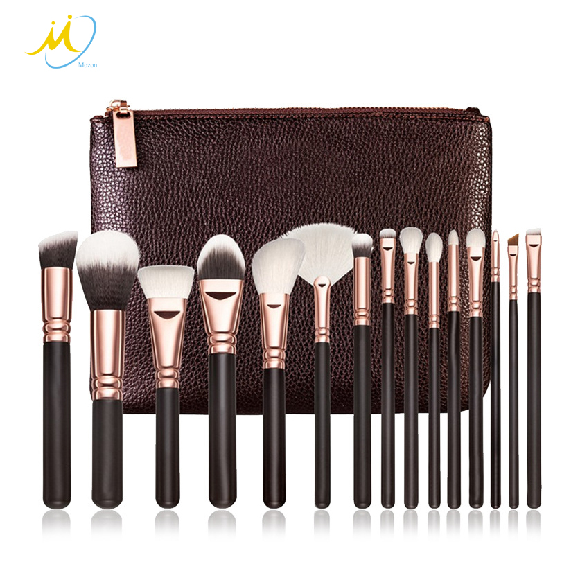 Professional 15 PCS PU Leather Bag Packed Soft Cosmetic Makeup Brush Set