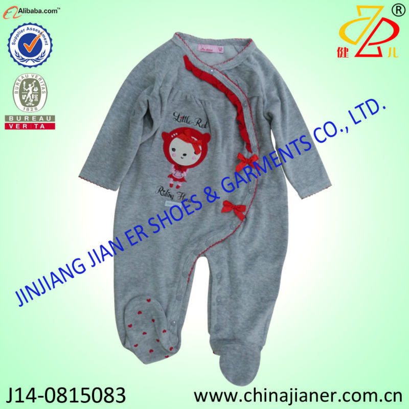 cute design fox embroidery wholesale baby-sleepsuit baby garments