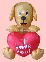 150cmH/5ft inflatable Valentine's day decoration puppy with heart