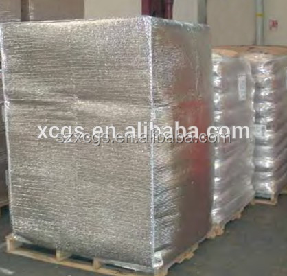 Vapor barrier aluminum foil shipping container liner cover for Fireproof vapor barrier