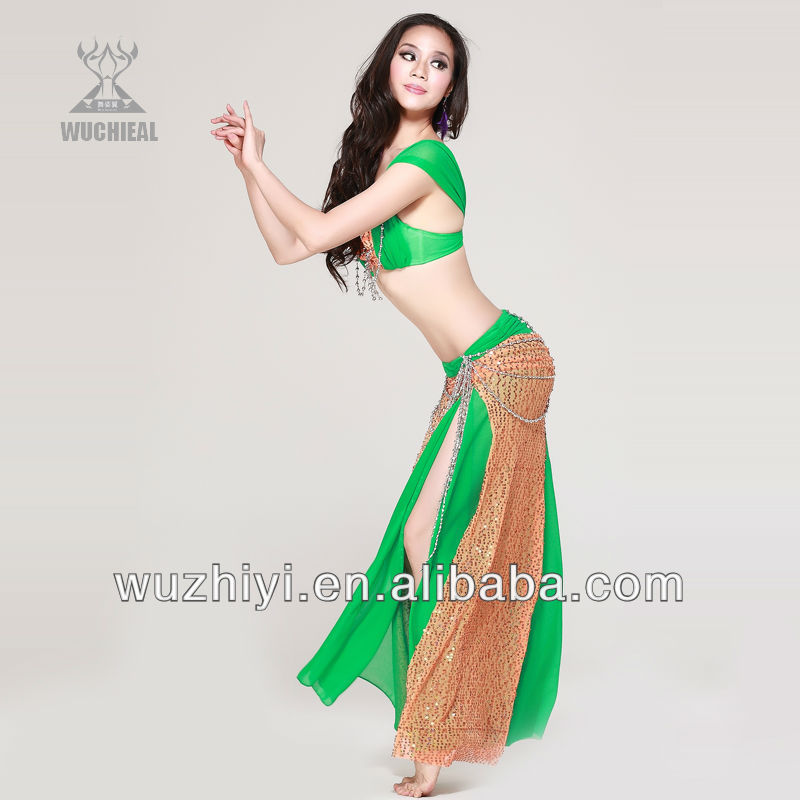 Wuchieal Dancing Costumes, Sexy Green Wholesale Belly dance Wear,Belly Dance Practice Suit (QC2053)