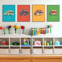 Modern Colorful Kawaii Cartoon Cars Bus Poster Nordic Baby Kids Room Wall Art Prints Picture Canvas Painting Home Decor No Frame