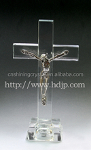 hot shining excellent crystal cross engraved with Jesus from China