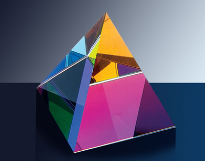 Colored glass pyramid for table decoration