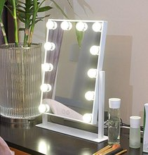 Large Touch Screen with 12 Big LED Bulbs Lighted Adjustable Brightness Led Makeup Mirror