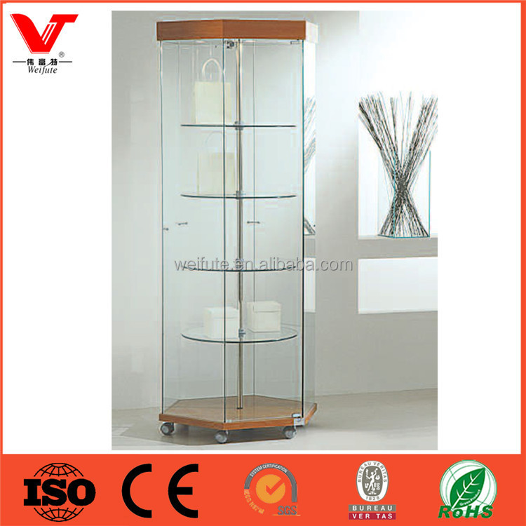 Wood boutique shop vitrine showcase jewelry display tower stand