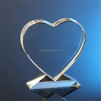 Popular New Design Wholesale Cheap Custom Transparent heart shaped Crystal Trophies And Awards
