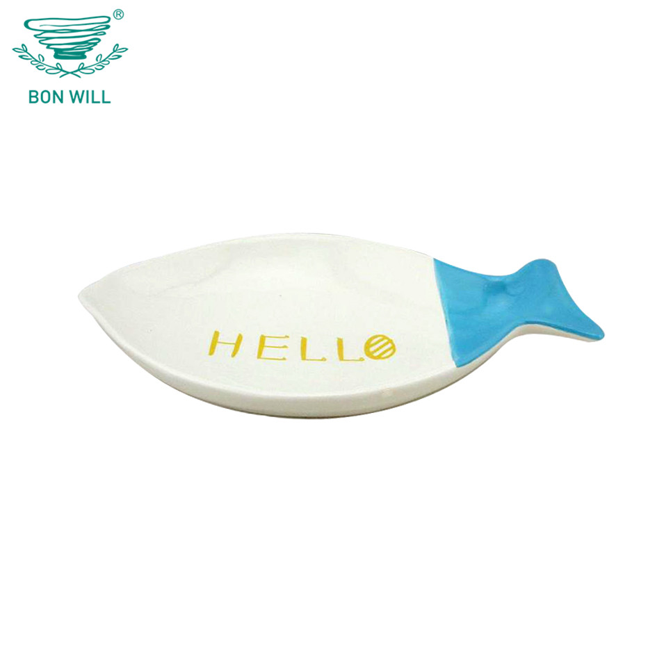 Eco-friendly creative fish shape art porcelain bowl