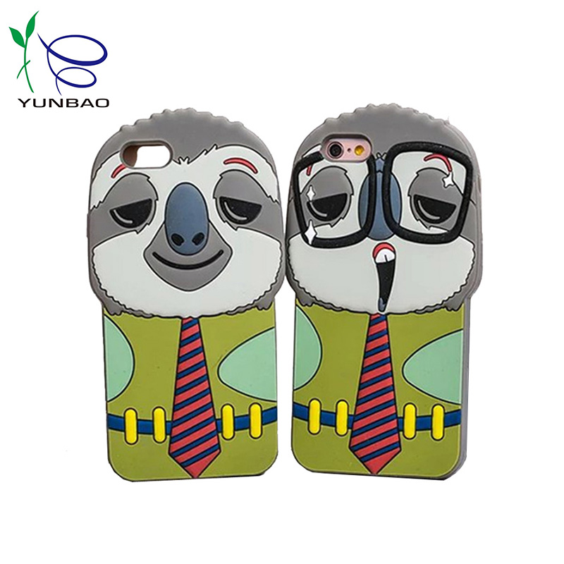 Custom cartoon animal cover silicone cell phone cover for iphone 5s 6s