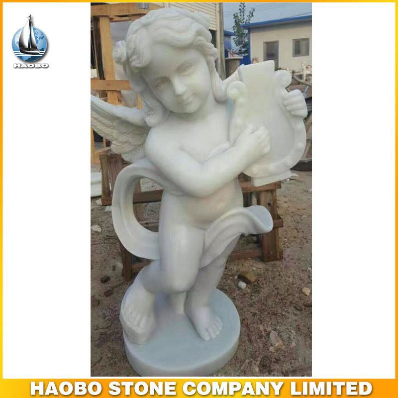 High Quality White Marble Little Angel Boy Statue
