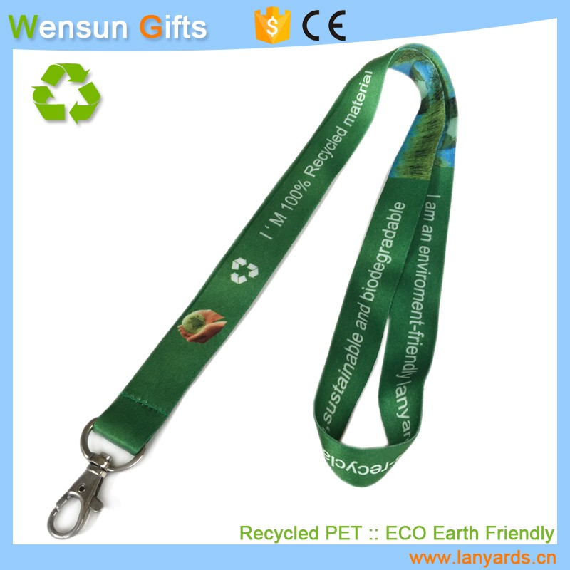 high quality photo print Recycled PET lanyards strap green gifts