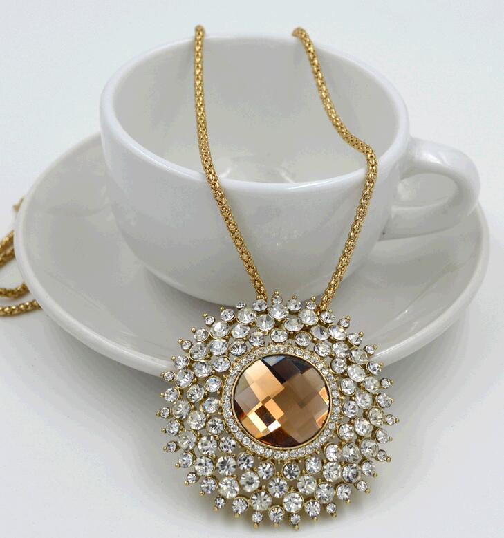Wholesale New Alloy Crystal Jewelry Boutique Fashion Long Round Women 39 S Chain Necklace Buy