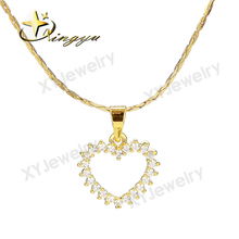 2017 hot sale simple design lovely heart pendant necklace for girl jewelry with cz