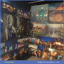 LED canvas art paintings, Large famous abstract paintings made in China, Christmas paintings on canvas with led light