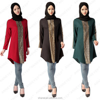 wholesale muslim women tops high quality muslim long sleeve blouse