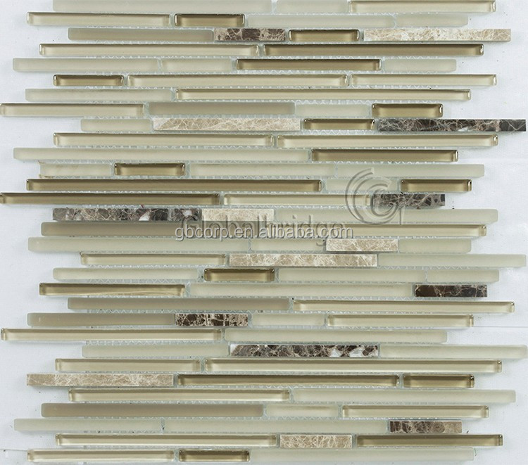 Long and short strip glass mix stone mosaic latest bathroom wall tile design