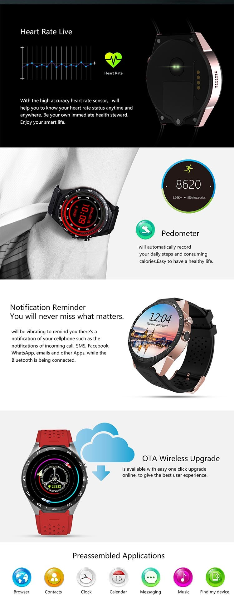 3G Android 5.1 WiFi GPS KW88 Smart watch
